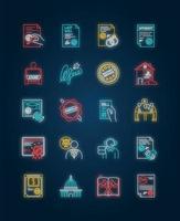 jeu d'icônes de néon de services de notaire. vecteur