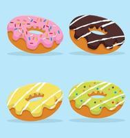 collection de délicieux beignets colorés vecteur