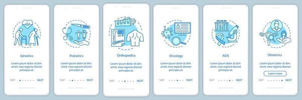 Écran de la page de l'application mobile d'intégration du service médical vecteur