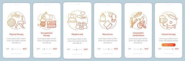 Écran de la page de l'application mobile d'intégration des services de soins infirmiers vecteur