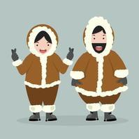 heureux couple indigène de l'Arctique vecteur