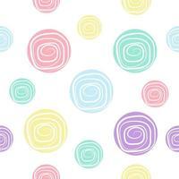 motif sans couture de spirales pastel colorées vecteur