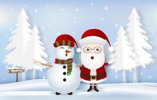 père noël avec bonhomme de neige et étiquette pôle nord