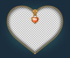 fermeture éclair en forme de coeur