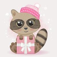 bébé raton laveur et coffret cadeau