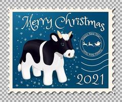 2021 année du timbre taureau vecteur
