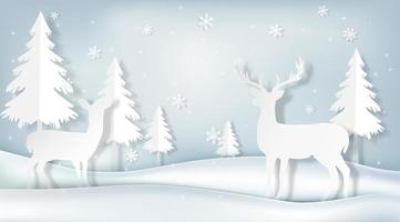 art de papier de cerf en scène d'hiver vecteur