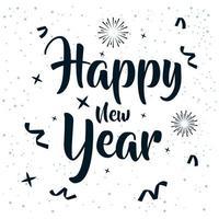 bonne année, affiche de célébration 2021 avec des confettis