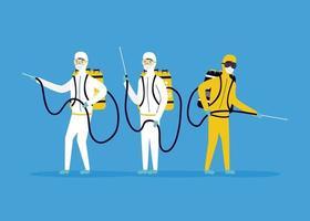 prévention des coronavirus avec des personnes sur la désinfection des combinaisons de matières dangereuses