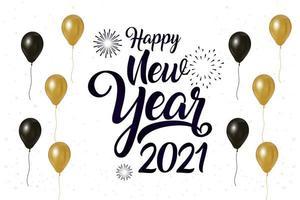 bonne année, affiche de célébration 2021 avec des ballons