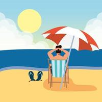 homme se faire bronzer à la plage, scène d'été