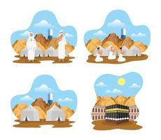 jeu d'icônes de célébration de pèlerinage hajj vecteur
