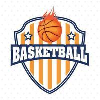 emblème de bouclier de sport de championnat de basket-ball avec ballon vecteur