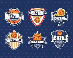 ensemble d & # 39; emblème de sport de championnat de basket-ball