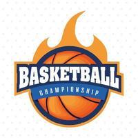 emblème de sport de championnat de basket-ball avec ballon