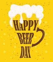 composition de célébration de jour de bière avec tasse de lettrage vecteur