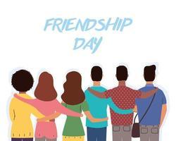 heureux, jeunes, étreindre, pour, célébration, jour amitié vecteur