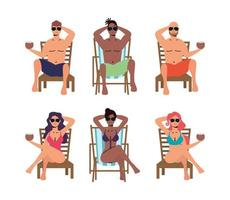 ensemble de personnes se faire bronzer sur des chaises vecteur
