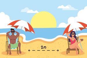 les gens se faire bronzer à distance sociale à la plage vecteur
