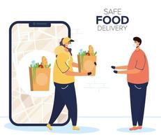 bannière de livraison de nourriture sûre avec le travailleur et le client vecteur