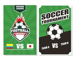 affiche de tournoi de sport de football de football sertie de ballon vecteur