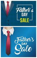 bannière de vente fête des pères sertie de costumes masculins vecteur