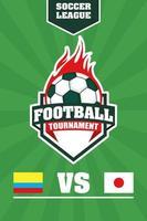 affiche du tournoi de football de football avec ballon vecteur