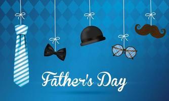 bannière de la fête des pères avec des icônes masculines antiques