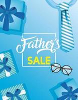 bannière de vente fête des pères avec des cadeaux bleus vecteur