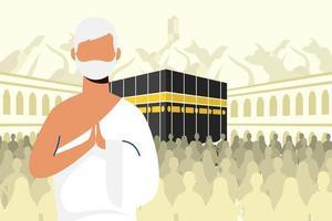 Célébration de pèlerinage hajj avec un homme dans une scène de kaaba vecteur