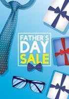 bannière de vente fête des pères avec cravate et lunettes vecteur