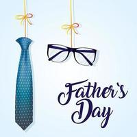 bannière de la fête des pères avec cravate et lunettes vecteur