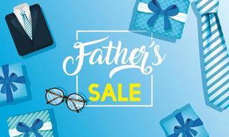 bannière de vente fête des pères avec des icônes masculines antiques vecteur