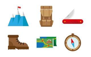 ensemble de symboles et icônes de matériel de camping