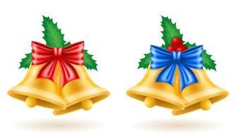 ensemble de cloches d'or de Noël vecteur