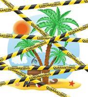 ruban de protection rayé interdisant les voyages touristiques vecteur