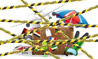 ruban de protection rayé interdisant les voyages touristiques à l'étranger vecteur