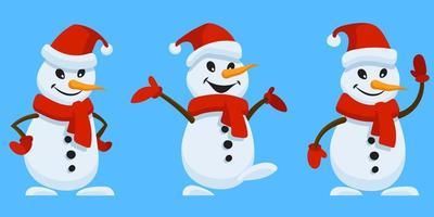 bonhomme de neige dans différentes poses vecteur