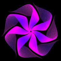 fractale fleur bleu violet sur fond noir vecteur