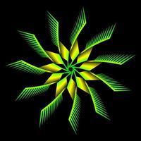 fractale de fleur verte jaune sur fond noir vecteur