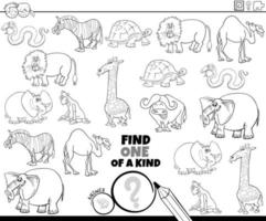 jeu unique avec page de livre de couleurs d'animaux vecteur