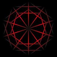 spirographe abstrait ligne rouge sur fond noir