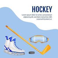 publication sur les médias sociaux de l'équipement de hockey vecteur