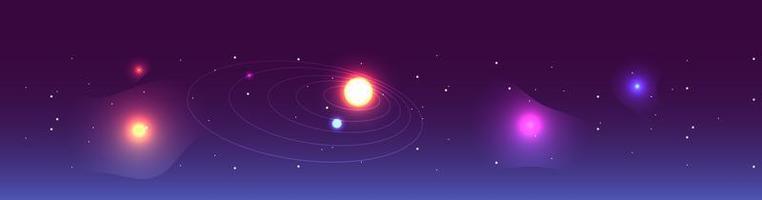 carte astrologique avec chemin de la planète vecteur