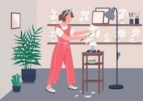 femme sculptant en studio vecteur