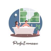 couple de détente dans la baignoire sur les médias sociaux vecteur
