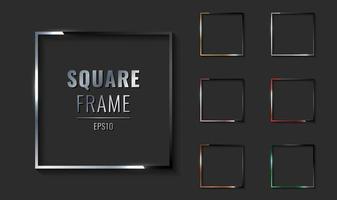 ensemble de cadre de bordure métallique carré argent