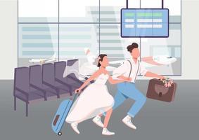 les jeunes mariés dans le terminal de l'aéroport vecteur