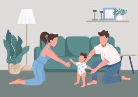 moments de bonheur en famille vecteur