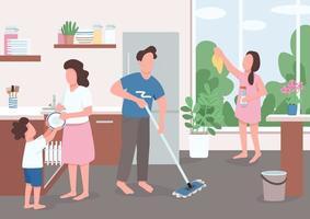 ménage de printemps en famille vecteur